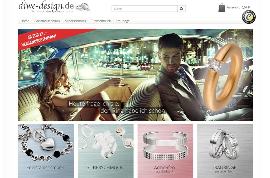 DiWe Design Onlineshop für Schmuck